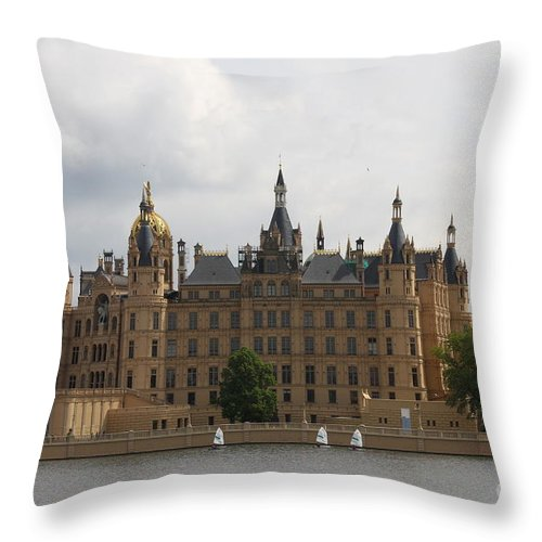 Schwerin Throw Pillow featuring the photograph Schwerin Castle Front Aspect by Christiane Schulze Art And Photography