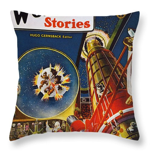 1930 Throw Pillow featuring the photograph Sci-fi Magazine Cover, 1930 by Granger