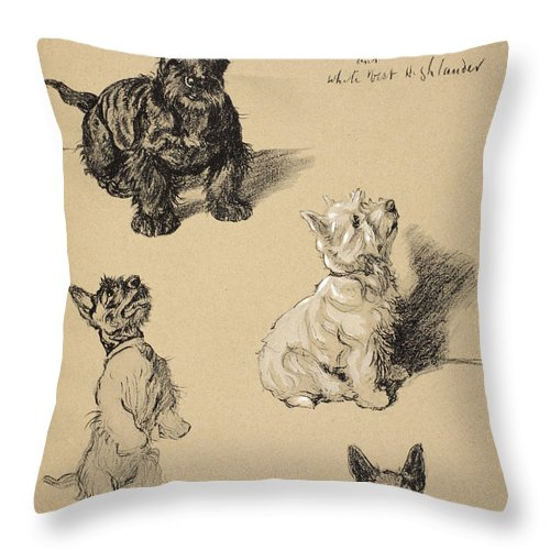 Dog Throw Pillow featuring the drawing Scotch Terrier And White Westie by Cecil Charles Windsor Aldin