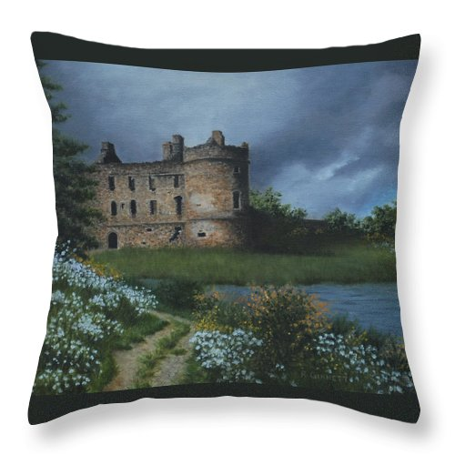 Landscape Throw Pillow featuring the painting Scottish Castle by Richard Ginnett
