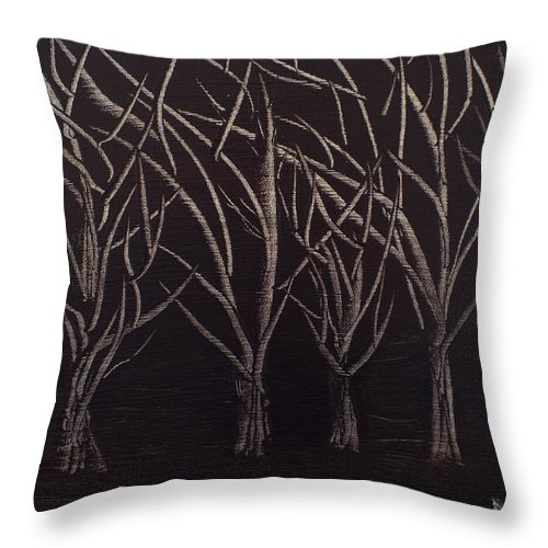 Trees Throw Pillow featuring the painting Scott's Trees by Maralea Norden