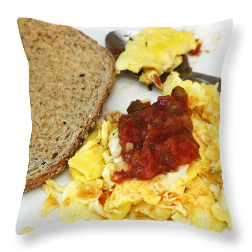 Bread Throw Pillow featuring the photograph Scrambled Eggs And Salsa by Lee Serenethos