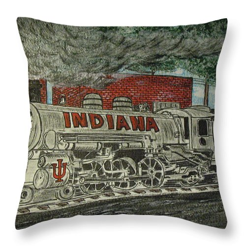 Scrapping Hoosiers Throw Pillow featuring the painting Scrapping Hoosiers Indiana Monon Train by Kathy Marrs Chandler