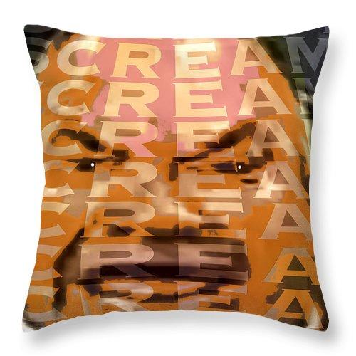 Scream! Throw Pillow featuring the digital art Scream by Seth Weaver