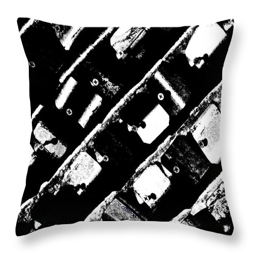Urban Throw Pillow featuring the photograph Screwed Metal Tab Abstract by Chris Berry