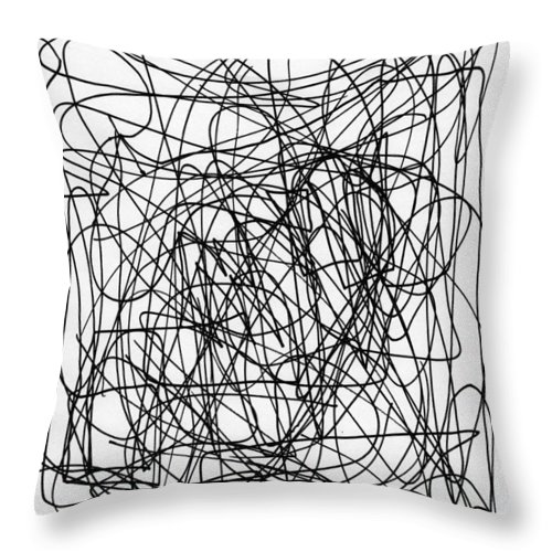 Scribble Throw Pillow featuring the drawing Scribble For M.l.b. Here I Come by Ismael Cavazos