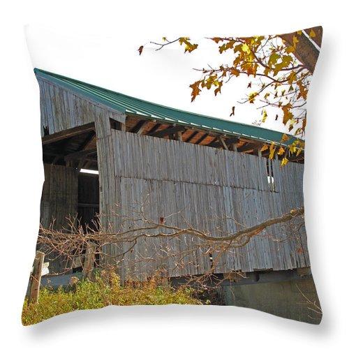 Wooden Bridge Throw Pillow featuring the photograph Scribner Bridge 2 by Barbara McDevitt