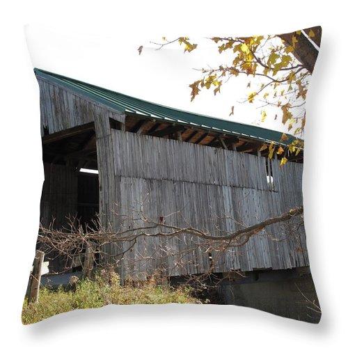 Covered Bridge Throw Pillow featuring the photograph Scribner Bridge Johnson Vermont by Barbara McDevitt