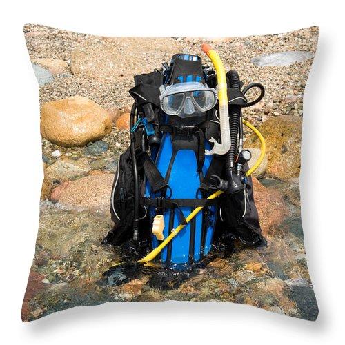 Bcd Throw Pillow featuring the photograph Scuba Gear by Roy Pedersen