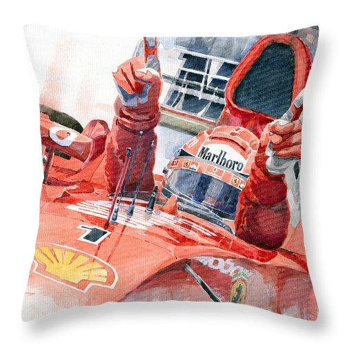 Watercolor Throw Pillow featuring the painting 2001 Scuderia Ferrari Marlboro F 2001 Ferrari 050 M Schumacher by Yuriy Shevchuk