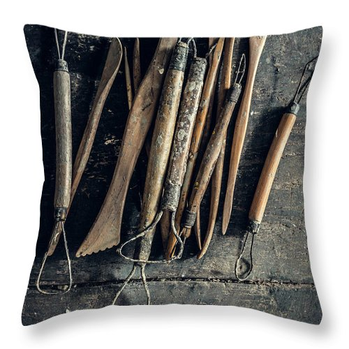 Art Throw Pillow featuring the photograph Sculpting Tools by Alexd75