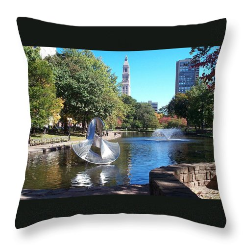 bushnell Park Throw Pillow featuring the photograph Sculpture Hartford by Barbara McDevitt