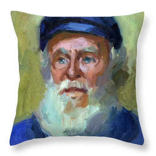 Ship Captain Throw Pillow featuring the painting Sea Captain 1 by Diane McClary
