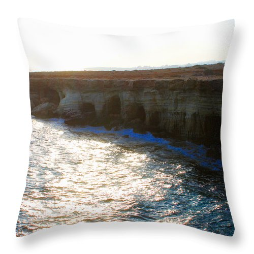 Augusta Stylianou Throw Pillow featuring the photograph Sea Caves by Augusta Stylianou