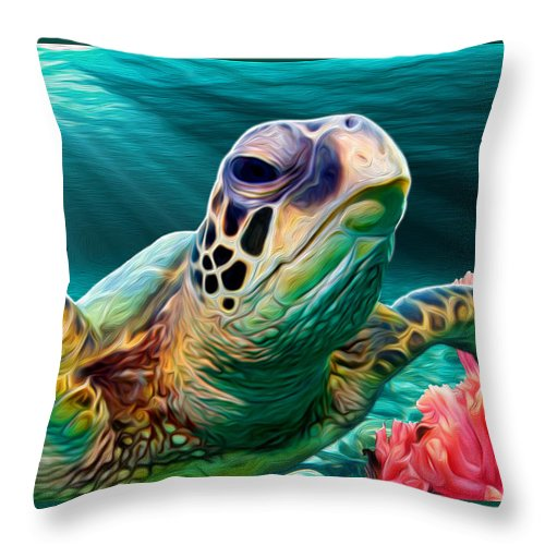 Turtle Throw Pillow featuring the mixed media Sea Cruise by JWB Art Unlimited