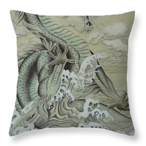 Dragon Throw Pillow featuring the painting Sea Dragon by Birgit Moldenhauer