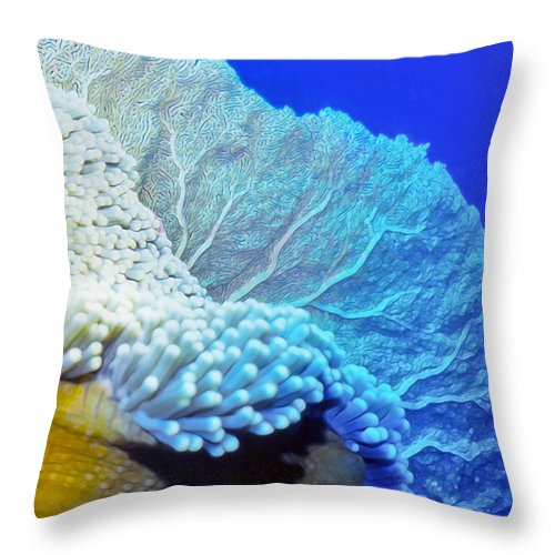 Micronesia Throw Pillow featuring the photograph Sea Fans 7 by Dawn Eshelman