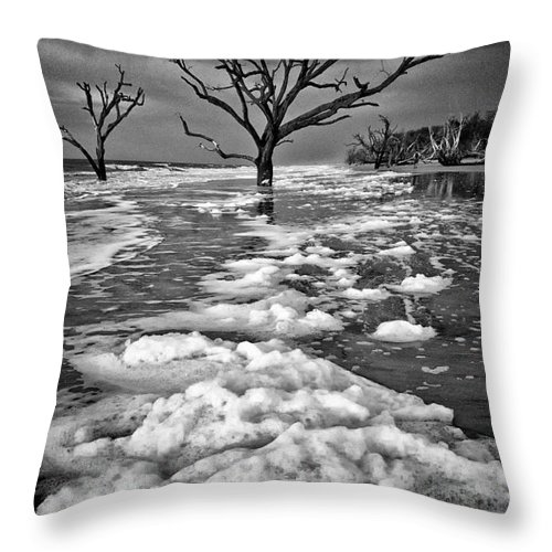 Charleston Throw Pillow featuring the photograph Sea Foam Botany Bay by Carrie Cranwill
