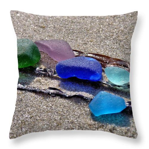 Sea Glass Throw Pillow featuring the photograph Sea Glass by Janice Drew