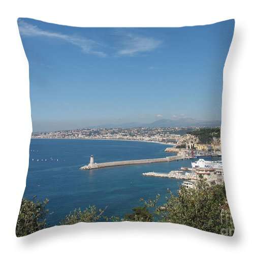 Sea Mole Throw Pillow featuring the photograph Sea Mole With Lighthouse by Christiane Schulze Art And Photography