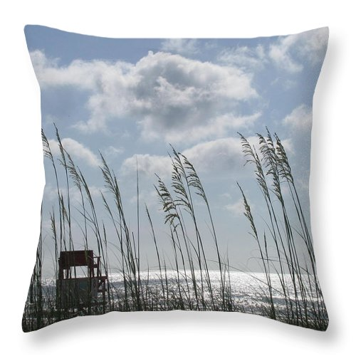 Landscape Throw Pillow featuring the photograph Sea Oats And Safety by Ellen Meakin