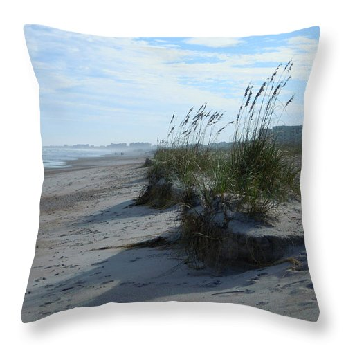Landscape Throw Pillow featuring the photograph Sea Oats Drop Off by Ellen Meakin
