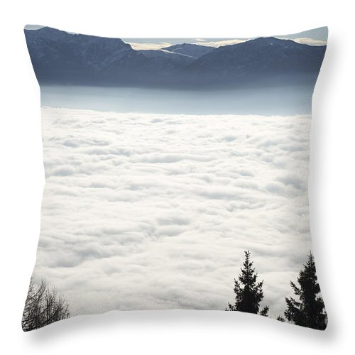 Sea Of Fog Throw Pillow featuring the photograph Sea Of Fog And Alps by Mats Silvan