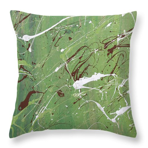 Abstract Throw Pillow featuring the painting Sea Of Green by Laura Lane