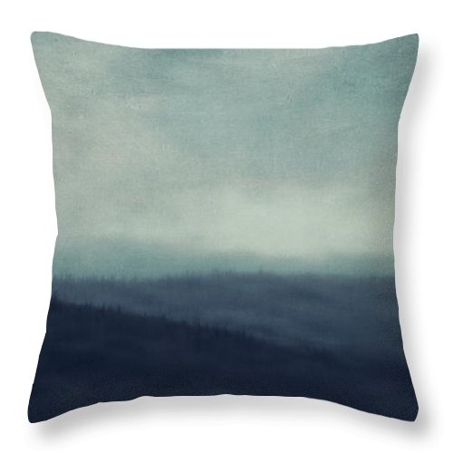 Treeline Throw Pillow featuring the photograph Sea Of Trees And Hills by Priska Wettstein