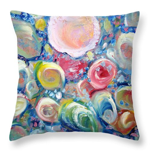 Shells Throw Pillow featuring the painting Sea Shells by Patricia Taylor