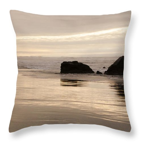 Sunset Throw Pillow featuring the photograph Sea Stacks Panorama by Vivian Christopher