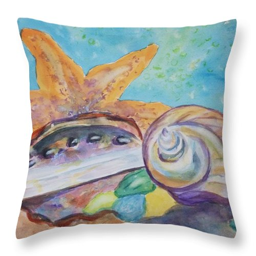 Sea Star Throw Pillow featuring the painting Sea Star-abalone-snail Shell by Ellen Levinson