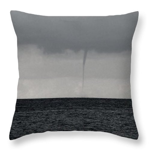 Cayman Islands Stock Photographs Throw Pillow featuring the photograph Tornado At Sea by Amar Sheow