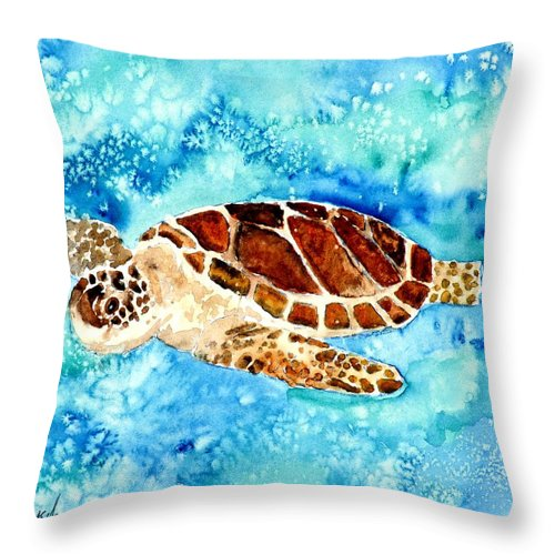 Sea Turtle Throw Pillow featuring the painting Sea Turtle by Derek Mccrea