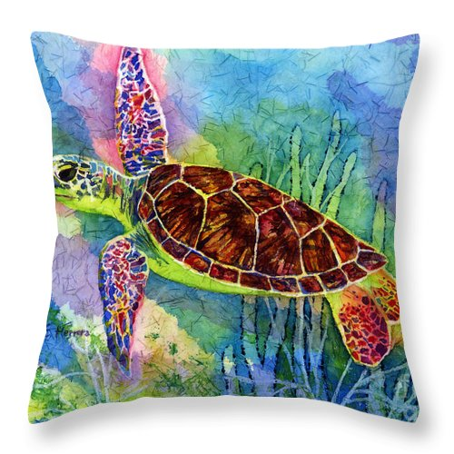 Turtle Throw Pillow featuring the painting Sea Turtle by Hailey E Herrera