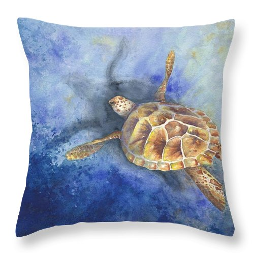 Turtle Throw Pillow featuring the painting Sea Turtle by Oty Kocsis