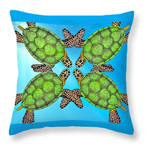 Turtle Throw Pillow featuring the digital art Sea Turtles by Betsy Knapp