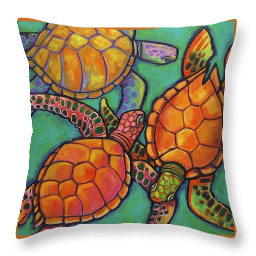Sea Turtles Throw Pillow featuring the painting Sea Turtles by Ilene Richard
