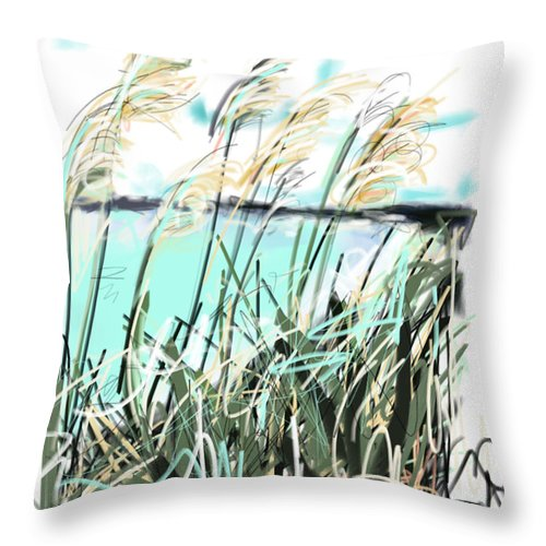 Sea Throw Pillow featuring the painting Sea View by Go Van Kampen
