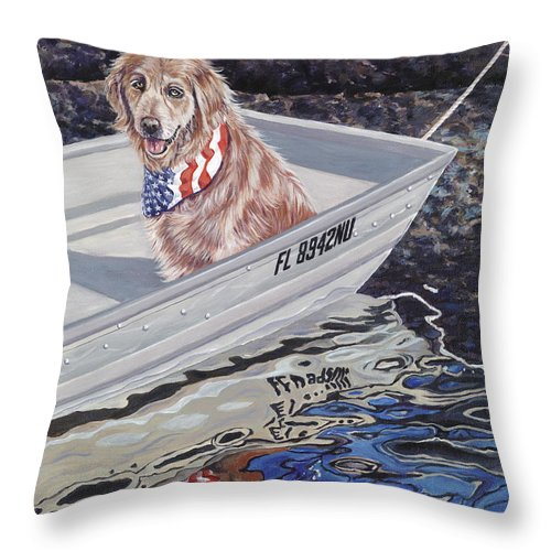 Golden Retriever Throw Pillow featuring the painting Seadog by Danielle Perry