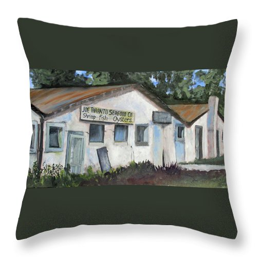 Shrimp House Throw Pillow featuring the painting Seafood House Apalach by Susan Richardson