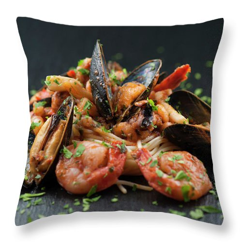 Prawn Throw Pillow featuring the photograph Seafood Pasta by Cbording