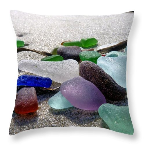 Sea Glass Throw Pillow featuring the photograph Seaglass And Seaweed by Janice Drew