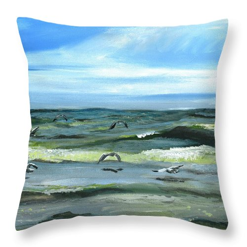 Seascape Throw Pillow featuring the painting Seagulls At Play by Sarah Lowe