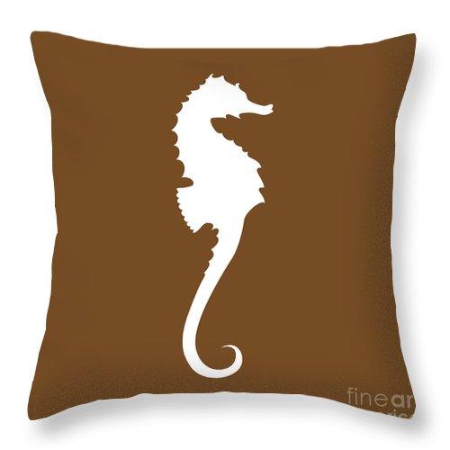 Graphic Art Throw Pillow featuring the digital art Seahorse In Brown And White by Jackie Farnsworth