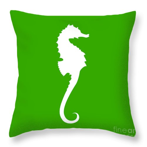 Graphic Art Throw Pillow featuring the digital art Seahorse In Green And White by Jackie Farnsworth