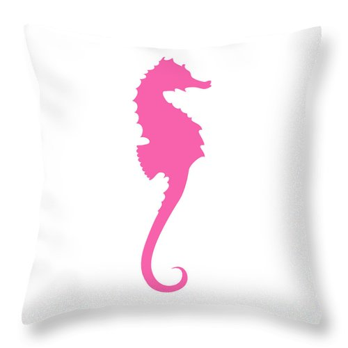 Graphic Art Throw Pillow featuring the digital art Seahorse In Pink by Jackie Farnsworth