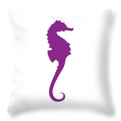 Graphic Art Throw Pillow featuring the digital art Seahorse In Purple by Jackie Farnsworth