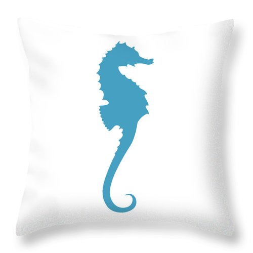 Graphic Art Throw Pillow featuring the digital art Seahorse In Turquoise Blue by Jackie Farnsworth