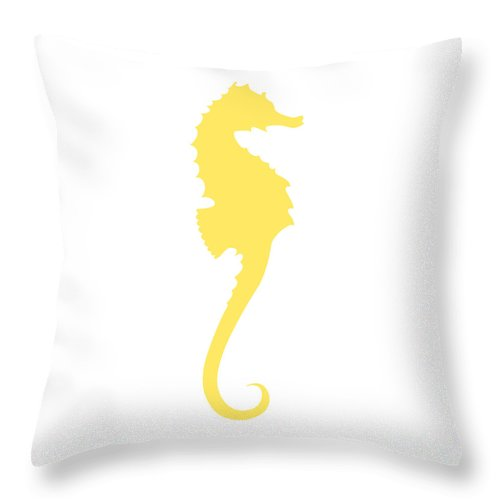 Graphic Art Throw Pillow featuring the digital art Seahorse In Yellow by Jackie Farnsworth